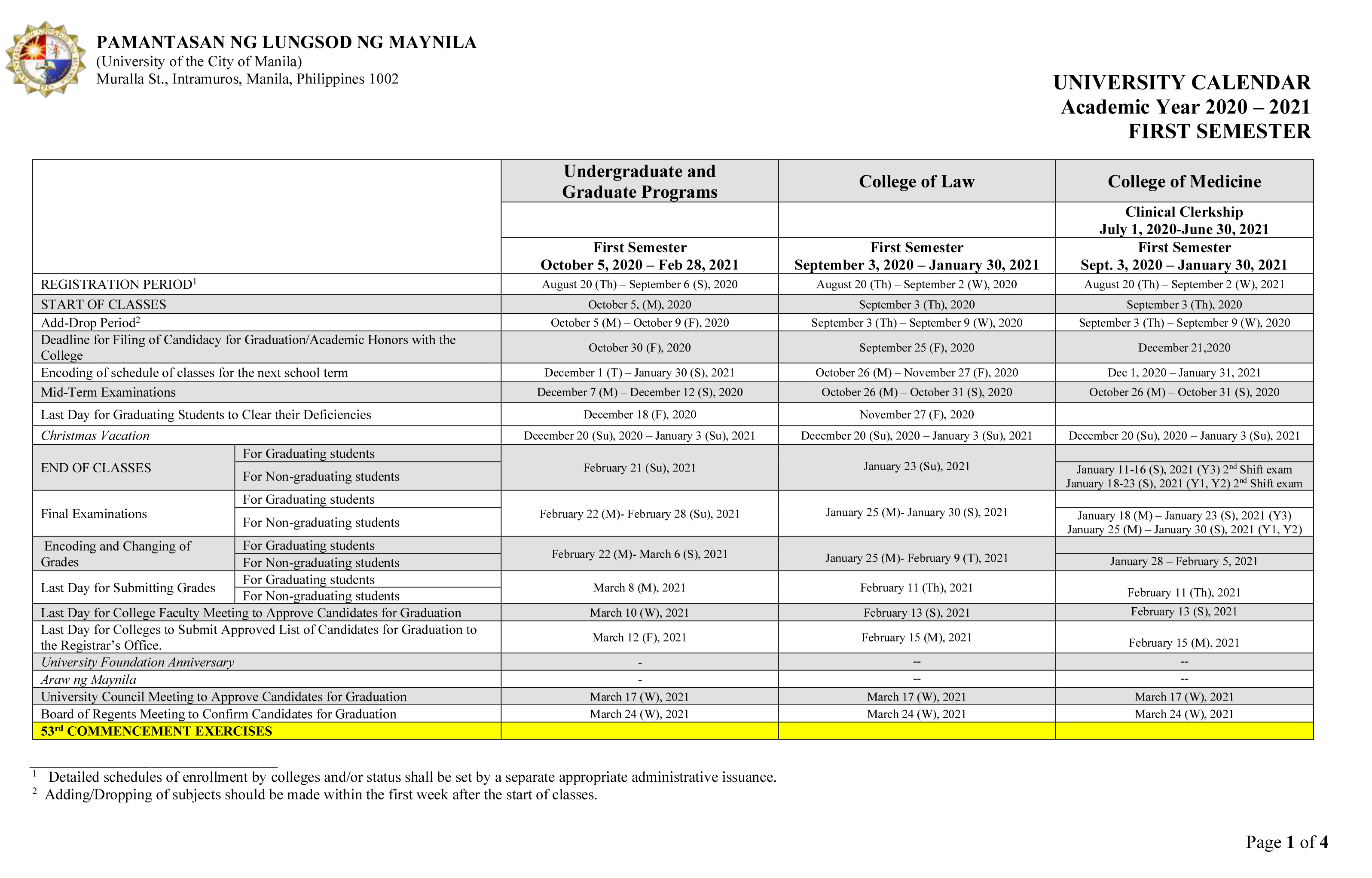 PLM Academic Calendar for AY 2020-2021 - p1 of 4