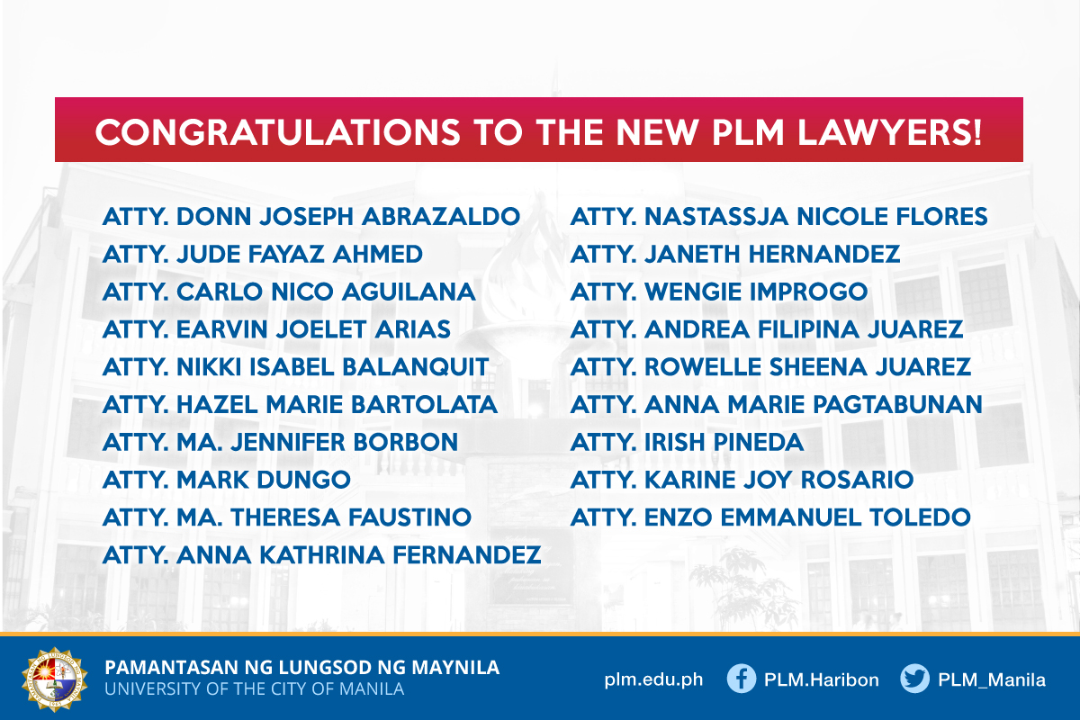 PLM College of Law | 2019 Bar passers: New PLM lawyers