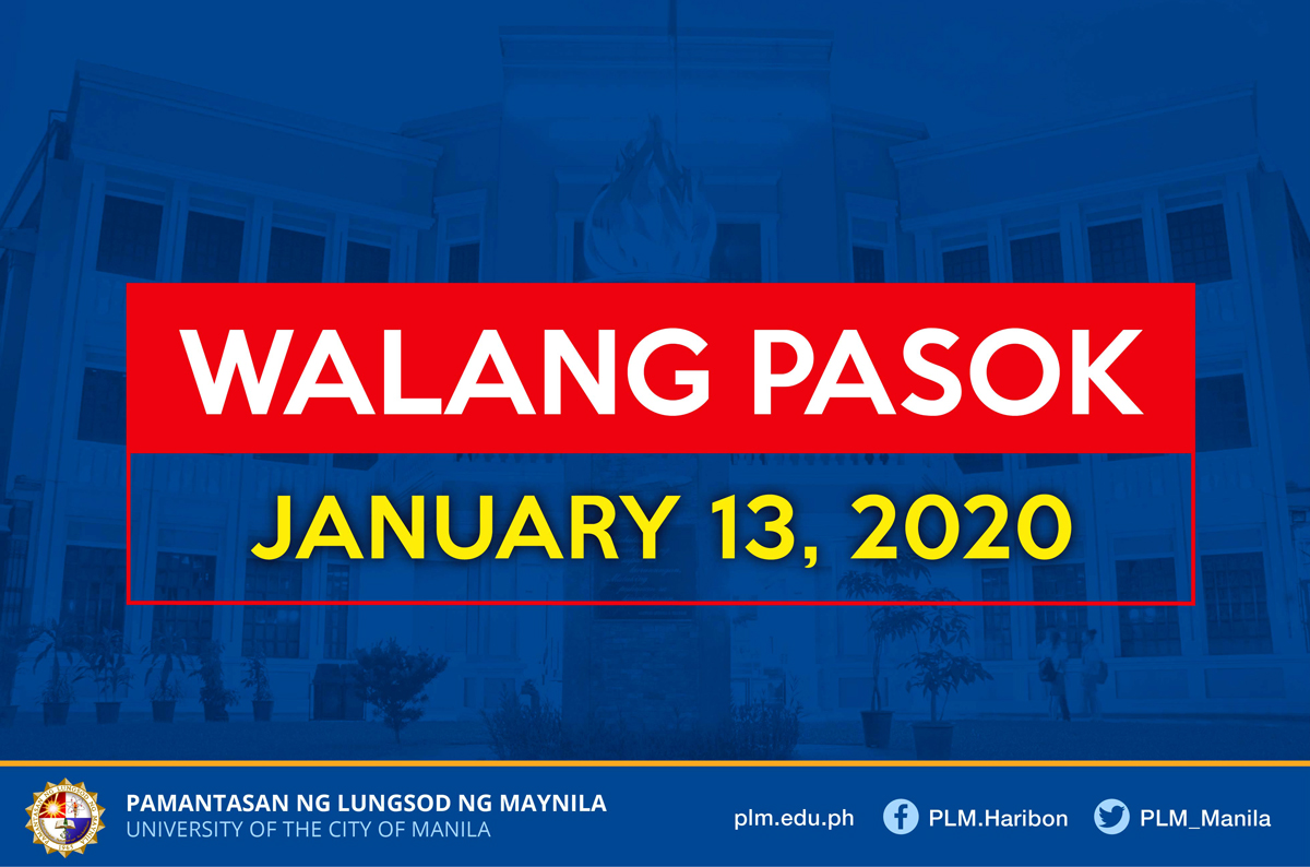 No work, classes on January 13, 2020