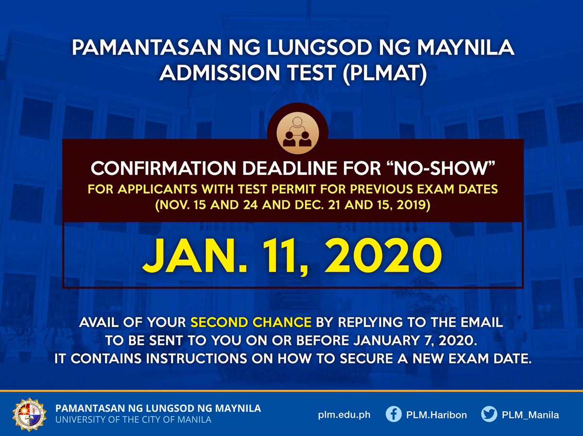 "PLMAT ""no-shows"" may apply for new exam dates"