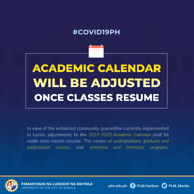PLM adjusts 2019-2020 Academic Calendar due to COVID-19