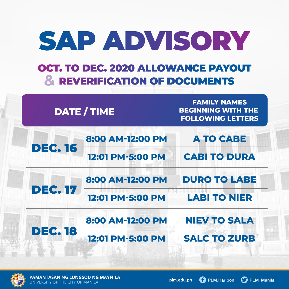 PLM vows timely release of student SAP payouts for remaining distribution days