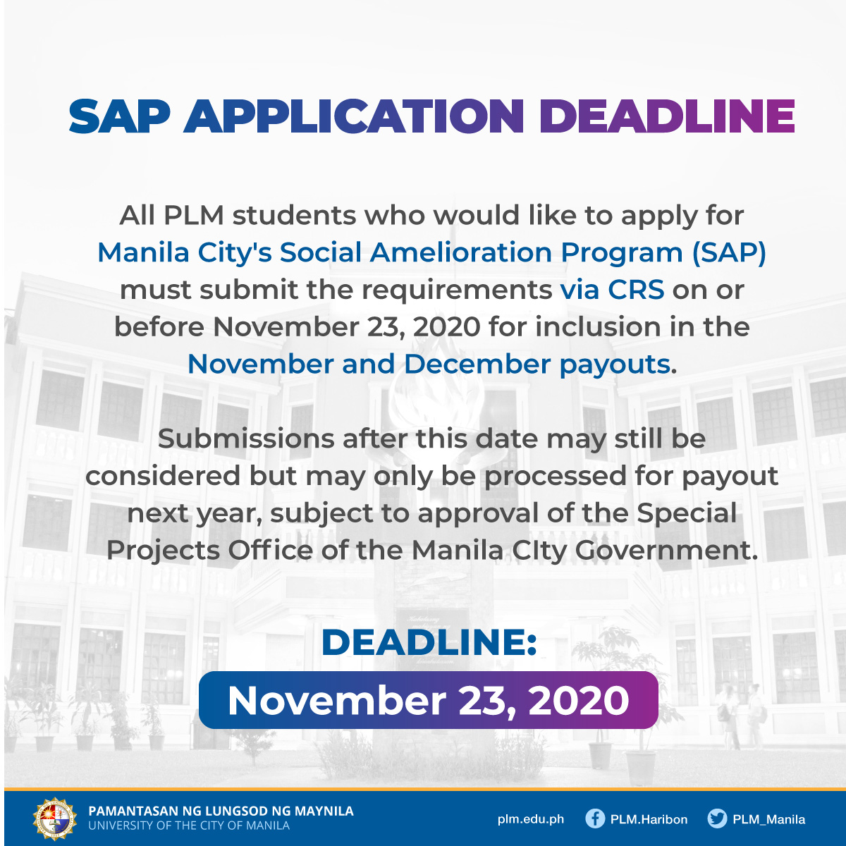 Advisory on the submission deadline for SAP requirements