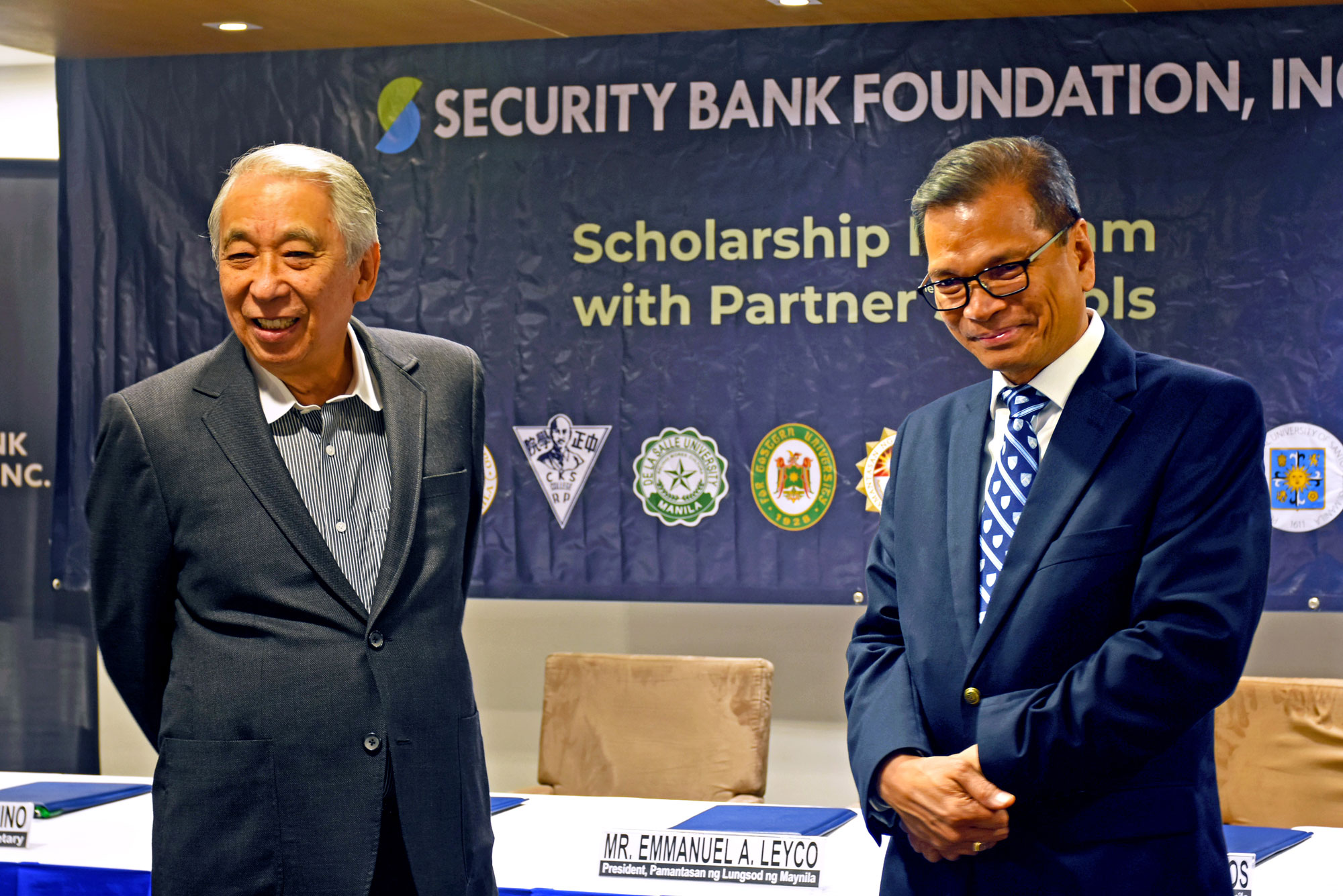 Security Bank Foundation Chair Simpao and PLM President Leyco discussed the possibility of increasing the number of PLM scholars.