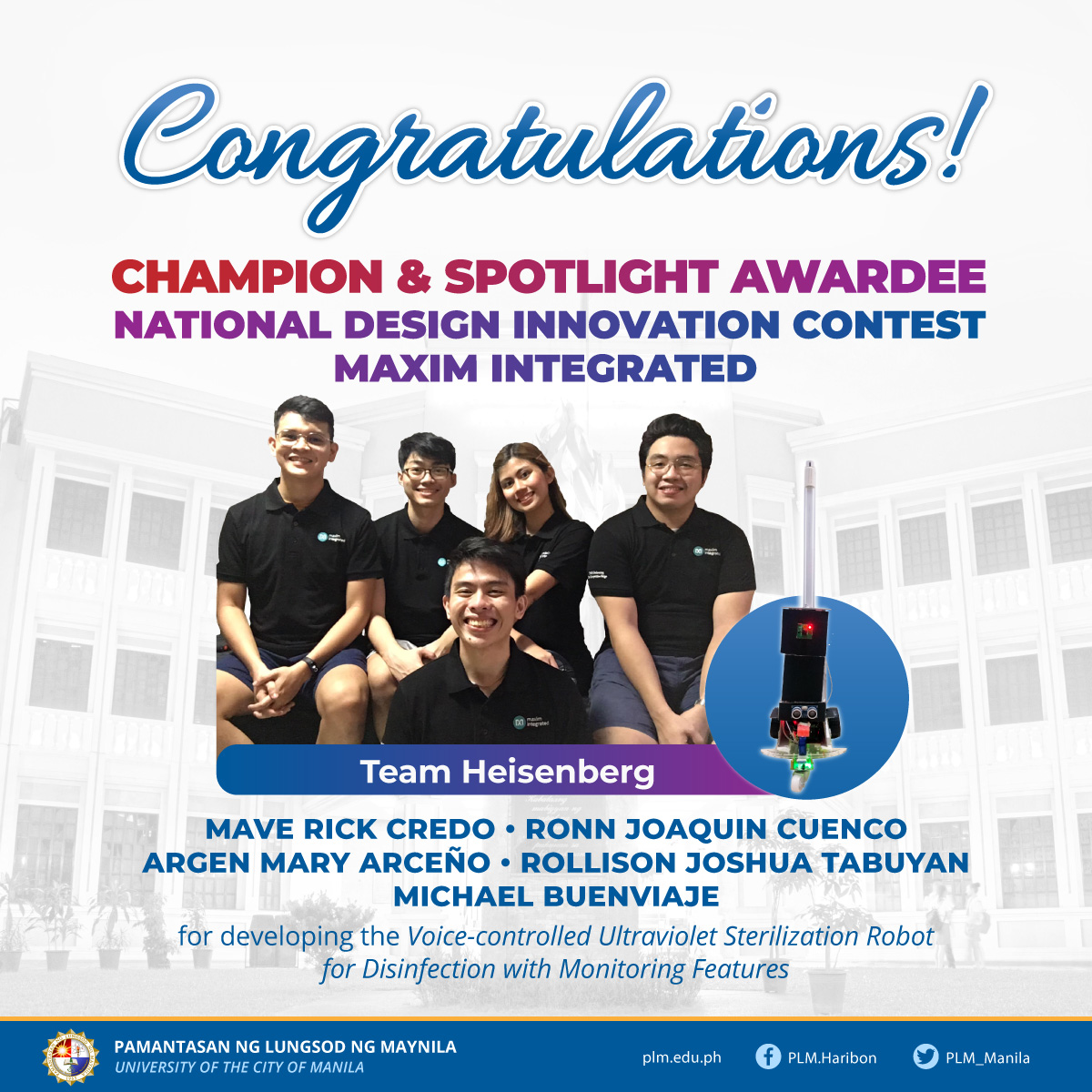 PLM engineering students bag top prize in national competition